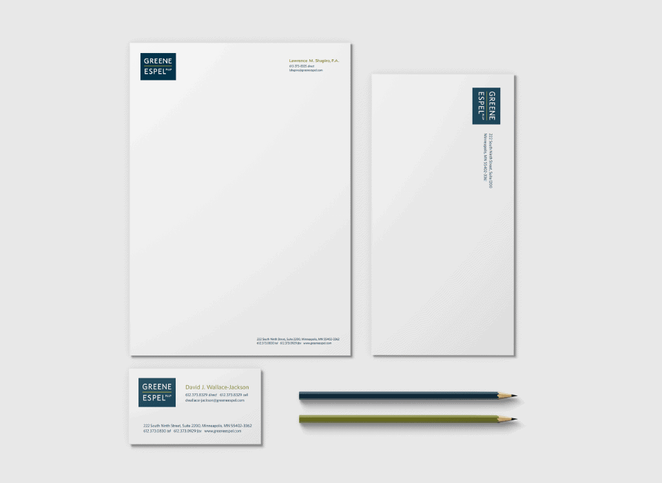 greene espel law firm stationery design law firm business card